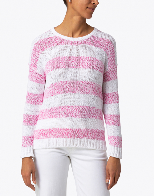 Amina Rubinacci - Conchiglia Pink Striped Cotton Sweater