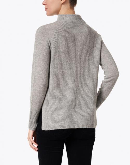 White + Warren - Grey Heather Mixed Stitch Cashmere Sweater