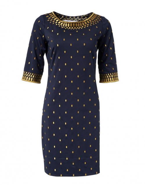 Gretchen Scott - Navy and Gold Embroidered Jersey Dress