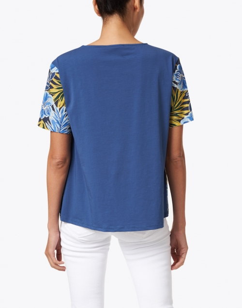 Weekend Max Mara - Caco Yellow and Blue Palm Print Cotton Top