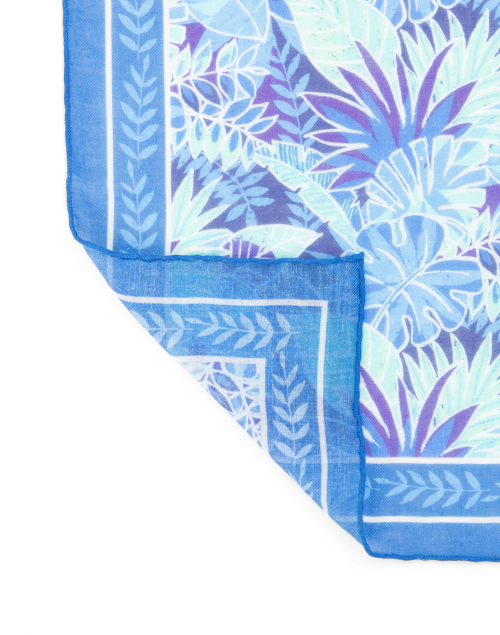 Leggiadro - Blue Palm Print Cashmere Blend Scarf