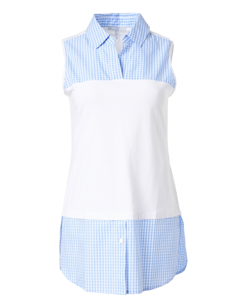 Hinson Wu - Lea Blue White Gingham Cotton Underlayer Shirt