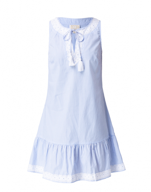 Sail to Sable Blue and White Pinstripe Cotton Dress