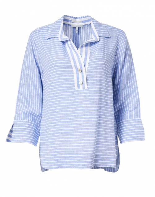 Hinson Wu - Aileen Blue and White Stripe Button Back Linen Shirt