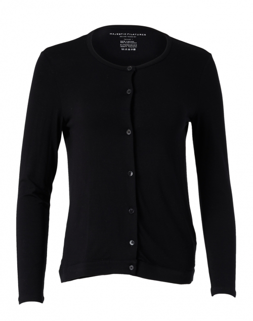 Majestic Filatures - Black Soft Touch Long Sleeve Cardigan