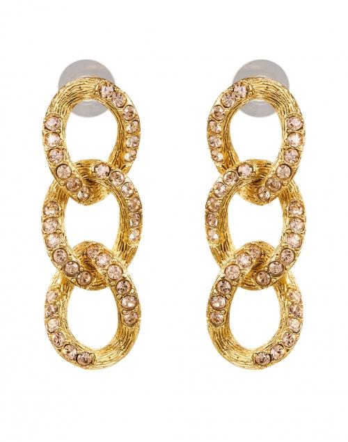 Oscar de la Renta Light Peach Crystal Encrusted Chain Link Earring