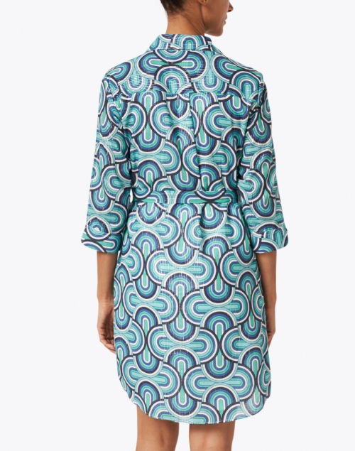 Vilagallo - Adriana Blue Lurex Geo Print Cotton Shirt Dress