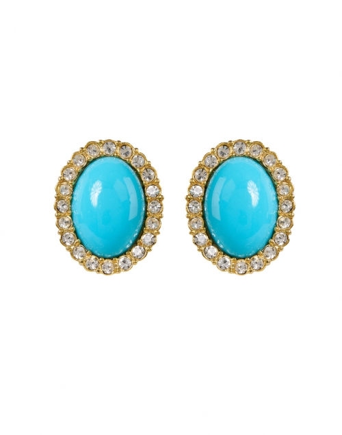 Kenneth Jay Lane Turquoise Gold and Crystal Oval Clip Earring