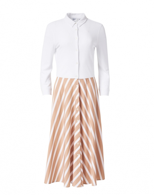 Sara Roka - Marna White and Beige Striped Skirt Bottom Dress
