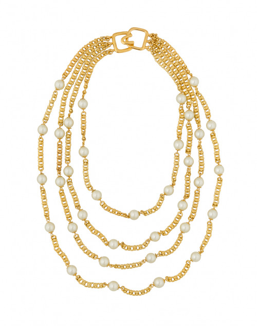 Pearl and Gold Chain Multi-Strand Necklace