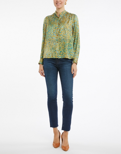 Tara Jarmon - Tiberine Gold and Blue Dotted Satin Blouse