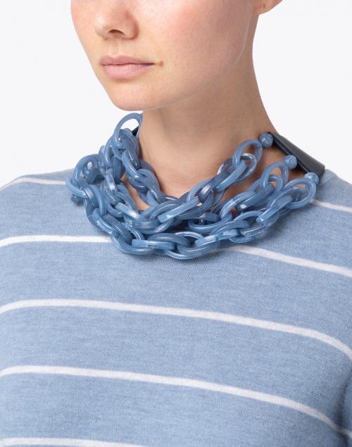 Fairchild Baldwin - Mirella Smokey Cornflower Blue Resin Chain Link Necklace