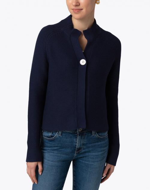 Kinross - Navy Garter Stitch Cotton Cardigan