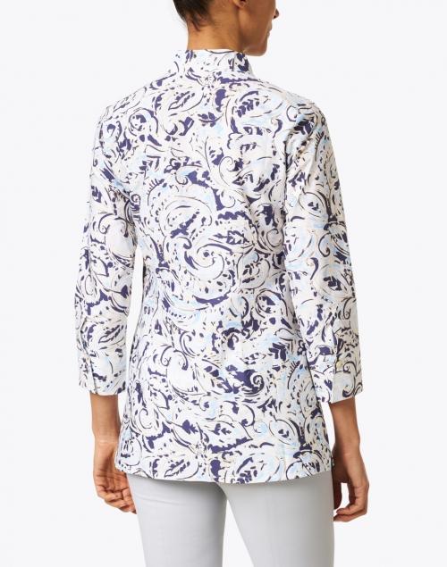 Leggiadro - Blue Paisley Printed Stretch Cotton Tunic