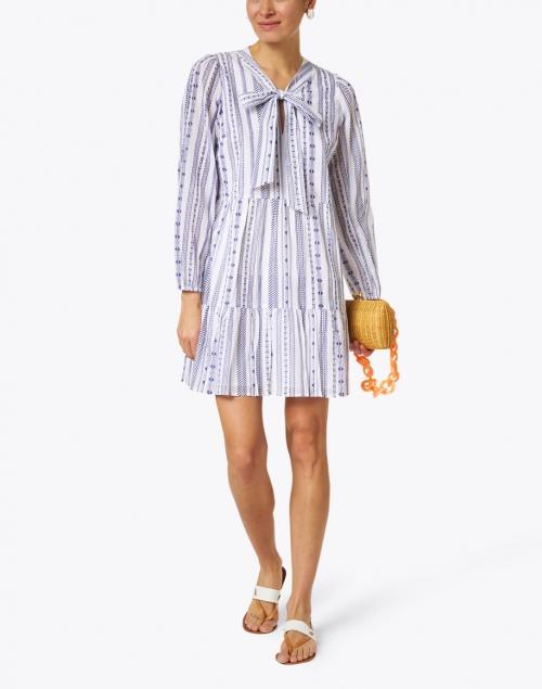 Sail to Sable White and Navy Jacquard Stripe Cotton Dress