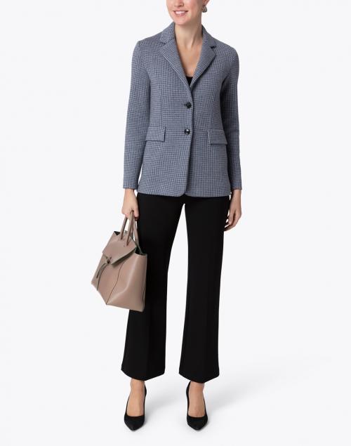 Amina Rubinacci - Desiderio Blue and Grey Check Wool Knit Blazer