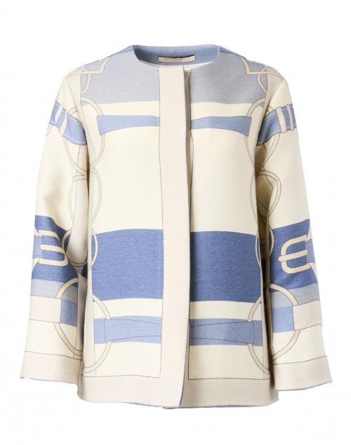 Rani Arabella Blue Saddle Printed Wool Jacket