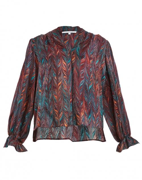 Santorelli - Marcel Red, Orange and Teal Brushstroke Print Silk Blouse