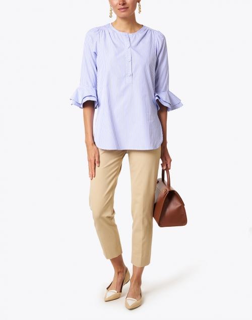 Dovima Paris - Wren Blue and White Stripe Cotton Shirt