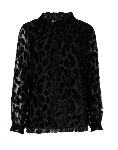 Sail to Sable - Black Lurex Leopard Velvet Burnout Top