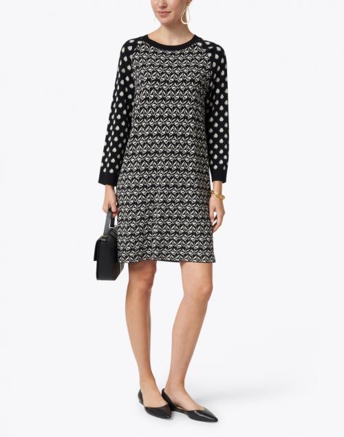 Weekend Max Mara - Jadi Black and White Block Geo Print Knit Dress