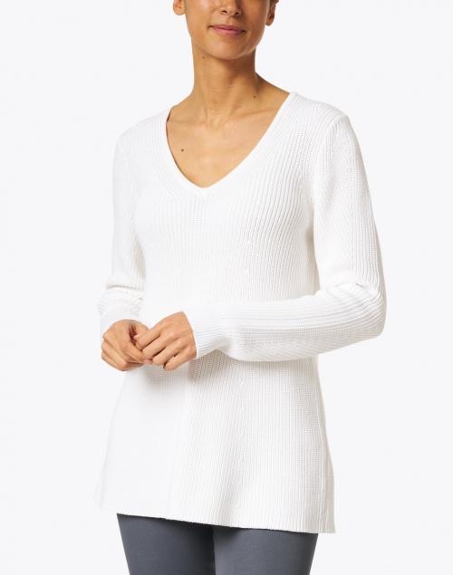 Kinross - White Cotton Easy Rib Sweater