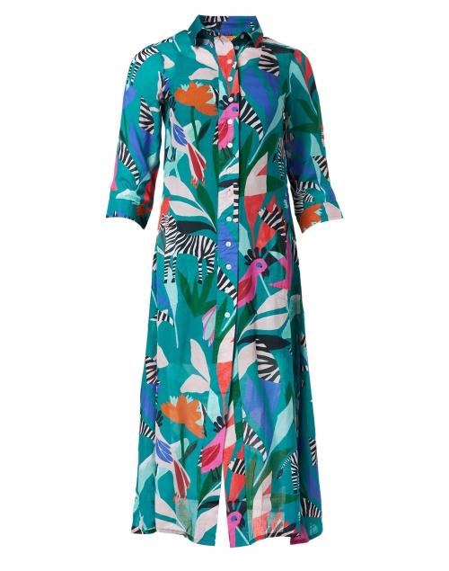 Oliphant Panama Teal Print Silk Cotton Shirt Dress