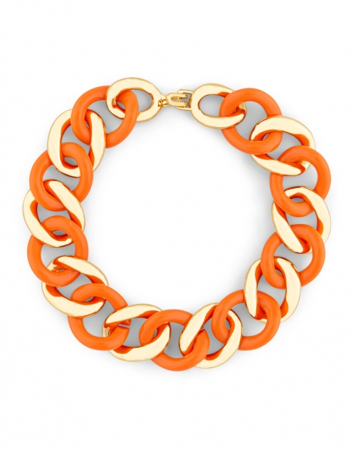 Kenneth Jay Lane - Gold and Coral Resin Links Necklace