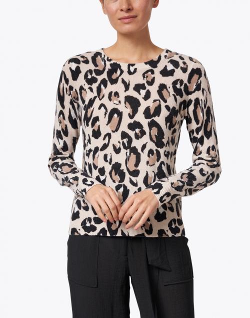 White + Warren - Black and Brown Animal Cashmere Sweater
