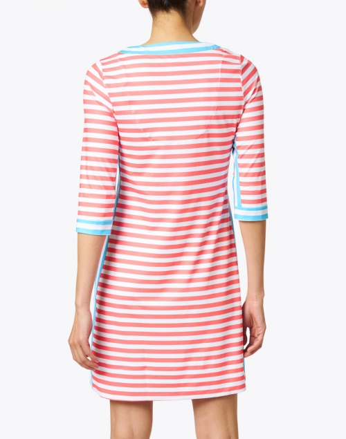 Gretchen Scott - Coral, White and Turquoise Striped Jersey Dress