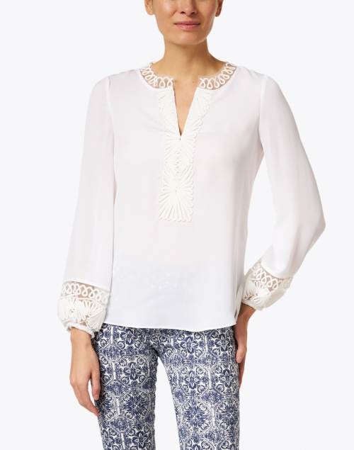 Kobi Halperin - Arya Ivory Embroidered Silk Georgette Blouse