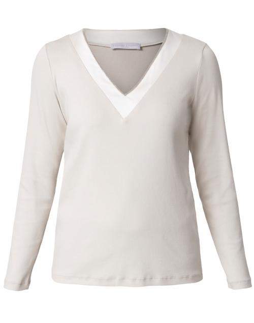 Fabiana Filippi - Grey and White Jersey Top with Satin Trim