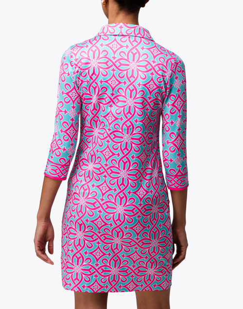 Gretchen Scott - Turquoise and Pink Piazza Printed Jersey Henley Dress