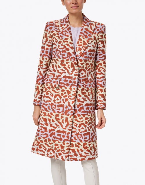 Smythe - Lilac and Rust Leopard Lurex Jacquard Overcoat