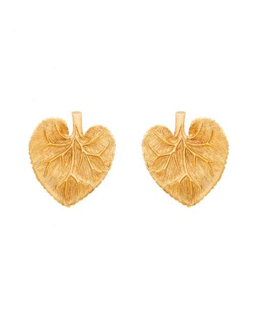 Oscar de la Renta - Eucalyptus Gold Leaf Button Earring