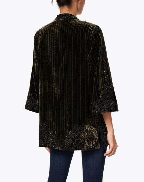 Kobi Halperin - Samira Green and Black Embroidered Velvet Jacket