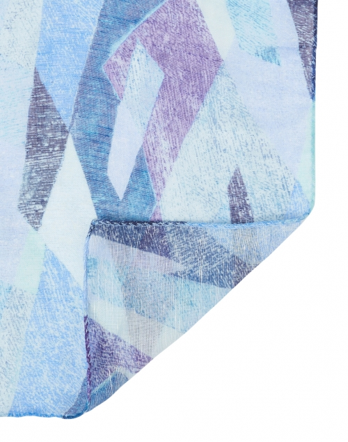 Leggiadro - Turquoise and Purple Kaleidoscope Print Modal and Linen Scarf