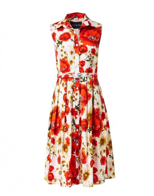 Samantha Sung - Audrey Orange Poppy Printed Stretch Cotton Dress