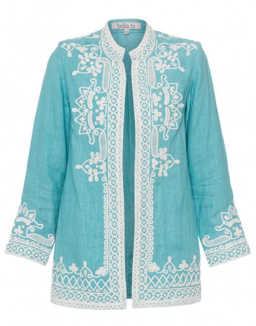 Bella Tu - Ceci Turquoise Embroidered Linen Coat
