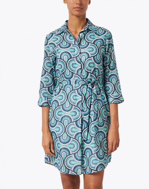 Vilagallo - Adriana Blue Lurex Geo Print Cotton Shirt Dress