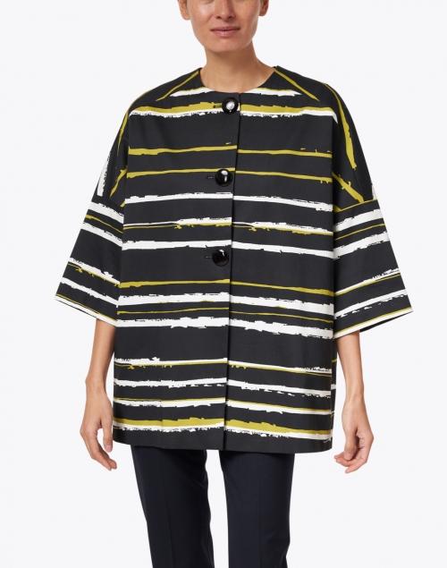 Helene Berman - Black, White and Green Stretch Cotton Kimono Jacket