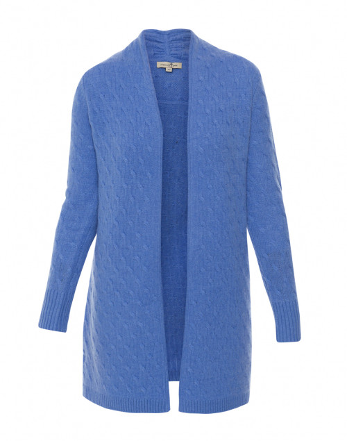 Cortland Park - Sophie French Blue Cable Knit Cashmere Cardigan