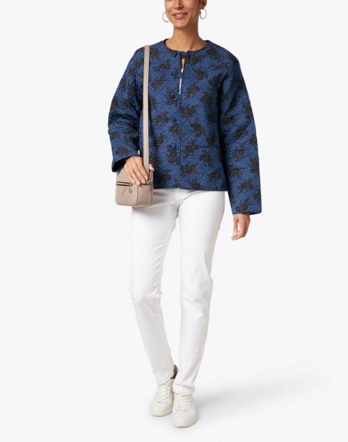 Soler Elsa Navy and Black Floral Print Quilted Cotton Jacket