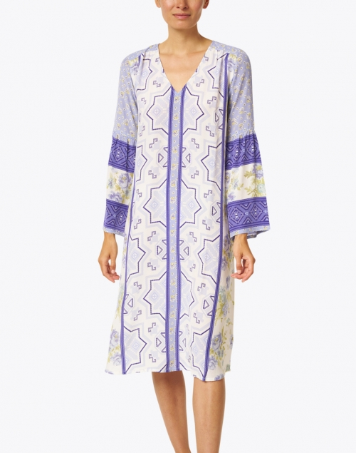 D'Ascoli - Yeva Periwinkle Blue Floral Print Silk Crepe Dress