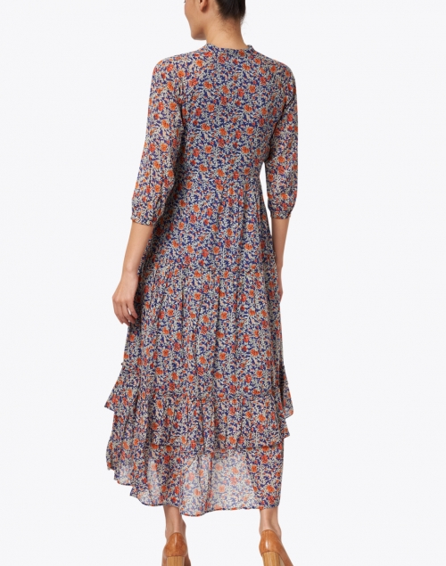 Banjanan - Bazaar Blue and Orange Floral Printed Cotton Viole Maxi Dress