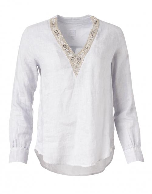 120% Lino - Silver Linen Embellished Shirt