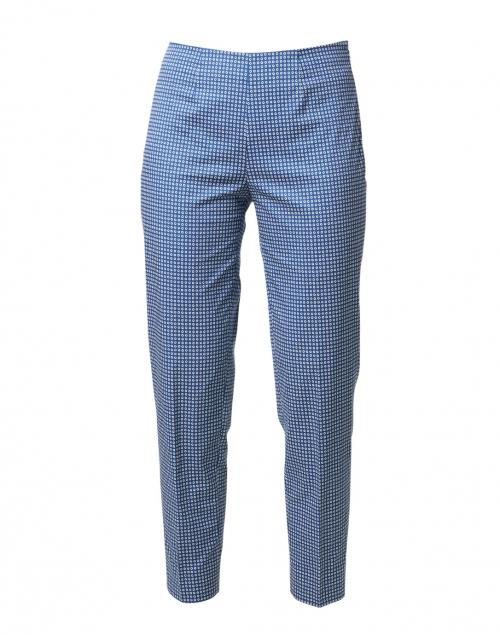 Piazza Sempione Monia Blue and White Circle Print Stretch Cotton Pant
