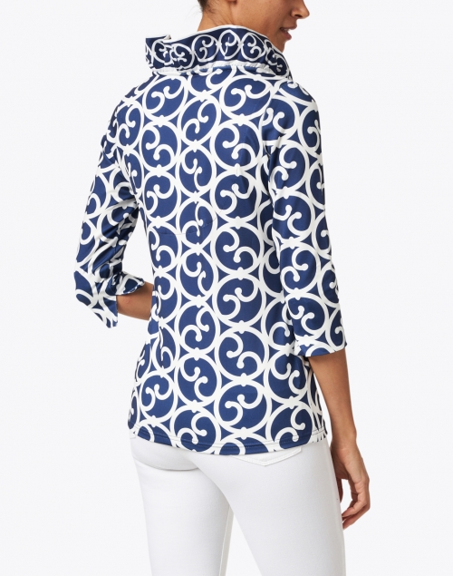 Gretchen Scott - Navy and White Printed Ruffle Neck Top