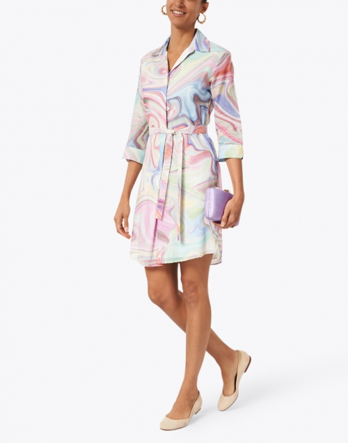 Vilagallo - Adriana Multi Marble Print Cotton Shirt Dress