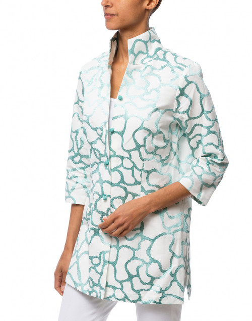 Connie Roberson - Rita Mint Embroidered Linen Silk Top